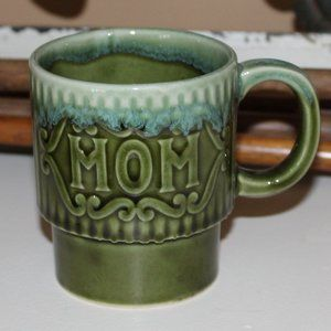 Vintage Avacado Green Mom Mug with Aqua Drip Glaze